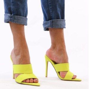 Pointy Toe Mules in Lime